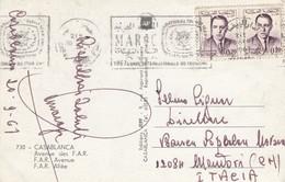 """11487-ANNULLO A TARGHETTA """"MAROC-1967-ANNEE INTERNATIONALE DU TOURISME"""" SU CARTOLINA ILLUSTRATA DI CASABLANCA - Marocco (1956-...)"""