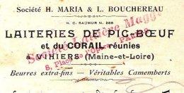 LAITERIES De PIC-BOEUF Et Du CORAIL Réunies   VIHIERS (Maine & Loire) - Bills Of Exchange