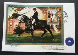 Bolivia Summer Olympics 1988 Seoul Josef Neckermann Dressur 1987 Horse Riding Sport Games (miniature FDC) - Bolivia