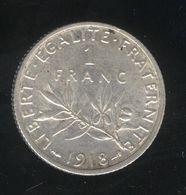 1 Franc France 1918 - TTB+ - France