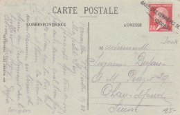 Cachet Linéaire De La Gare Des Verrières De...Doubs, Sur Carte Postale De Versailles - France