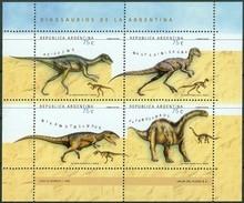Argentina 1998, Prehistoric Animals Dinosaurs Small Sheet Mi.# 2446-2449, MNH / ** - Argentinien