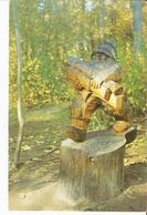 K2. Real Photo Postcard By Gailitis Latvia Liesma 1975 Woodcarving Dwarf Gnome By Kugra In Tervete Forest Nature Park - Latvia