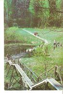 K2 Real Photo Postcard By Gailitis Latvia Liesma Wooden Stairs Stairway Bridge Of Spriditis Tervete Forest Nature Park - Latvia