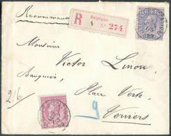 N°46-48 Obl. Sc VERVIERS (STATION) Sur Enveloppe Recommandée Du 3 Juin 1889 Vers Verviers.  Belle Fraîcheur  - 12384 - 1884-1891 Léopold II