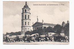 Wilna Deutsche Benzinstation In Kathedralenplatz 1916 POSTCARD 2 Scans - Lithuania
