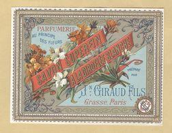Etiquette Parfum Savon Superfin à La Giroflée Blanche Parfumerie Au Principe Des Fleurs Jean Giraud Fils GRASSE-PARIS - Labels