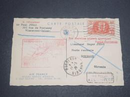 FRANCE - 1 Er Service De Nuit Par Avion Paris / Bordeaux En 1939 , Carte Air France - L 12169 - Postmark Collection (Covers)