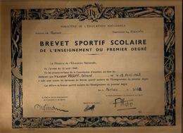 Diplôme Brevet Sportif Scolaire Mr Gérard Prouff Morlais (faute = Morlaix ) 1962 - Diplômes & Bulletins Scolaires