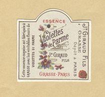 Etiquette Parfum Essence Violettes De Parme Jean Giraud Fils GRASSE-PARIS 3,4 Cm X 3,4 Cm En Superbe.Etat - Labels
