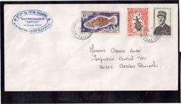 """EN - TAAF PO35 - PO46 - PO49 Du 18.4.1973 St PAUL.Cachet Ovale Du Navire Usine Surgélateur """" SAPMER """" De Grande Pêche. - Terres Australes Et Antarctiques Françaises (TAAF)"""
