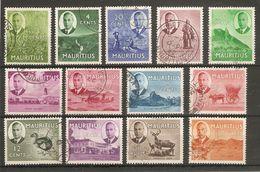 MAURITIUS 1950 SET TO 2R 50 SG 276/288 FINE USED Cat £32.95 - Mauricio (...-1967)