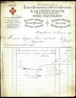 FACTURE ANCIENNE DE MONTPELLIER- 1897- FABRIQUE DE PANSEMENTS- BANDAGES ET DIVERS- CROIX ROUGE ET EN-TETE- 2 SCANS- - Frankreich
