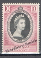 Malaysia Kedah - Malasia 1953, Yvert 88, Coronation Of Queen Elizabeth II - MNH - Malasia (1964-...)