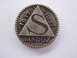 MEDAILLE LABORATOIRES SANDOZ 1917 1967 MEDECINE OU PHARMACIE - Professionnels / De Société
