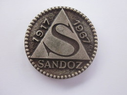 MEDAILLE LABORATOIRES SANDOZ 1917 1967 MEDECINE OU PHARMACIE - Professionals/Firms