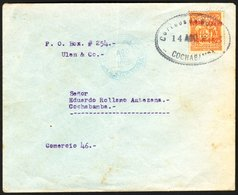 """1925 AIRMAIL (14 Aug) La Paz To Cochabamba, Envelope Bearing 50c Orange With """"Correo Aereo A La Paz 14-8-1925"""" Overprint - Bolivia"""