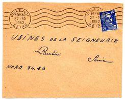 SEINE - Dépt N° 75 = VILLEJUIF 1952 (BD 3 Lignes) =  FLAMME RBV Muette '5 Lignes Ondulées' - Marcofilie (Brieven)