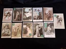 LOT DE  21 Cartes Postales Fantaisies Femme Homme Fleur Enfant Boite A Lettre Fête Anniversaire Nouvelle AN  ANNEE Marie - Non Classés