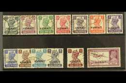 1945 Overprints Complete Set, SG 52/63, Fine Used, Fresh. (13 Stamps) For More Images, Please Visit Http://www.sandafayr - Kuwait
