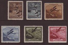 "1930 Airs Complete Set, Mi 108/113, Very Fine Mint, The 25rp With ""line Through 25""variety Mi 110 III. (6 Stamps) For Mo - Liechtenstein"