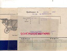 36- LA SOUTERRAINE- FACTURE UNION ELECTRIQUE RURALE-1931- RUE LISBONNE PARIS- A LA FERME-BATTEUSE-AGRICULTURE-BOUILLOIRE - Electricity & Gas