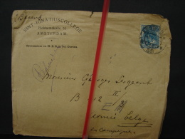 Mil. Let. 14. Enveloppe De Sint-Ignatius College D'Amsterdam Adressée à Un Poilu En 1918 - Oorlog 1914-18