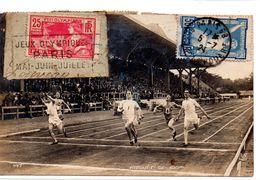 Jeux Olympiques De Paris 1924 : Carte Postale De L'arrivée Du 100 M, Oblitèrée Et Timbrée - Zomer 1924: Parijs