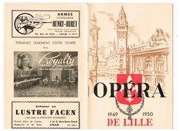 PROGRAMMA  OPERA DE LILLE 1949/1950  LA TOSCA  PUCCINI - Programmes