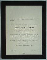 Faire-part Du Décès De La Baronne Cécile Van LOO, Vve Christian De SMET De NAEYER, 1883-1961. - Obituary Notices