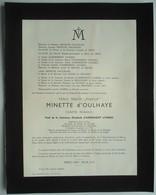 Faire-part Du Décès De Marc MINETTE D'OULHAYE, Veuf Comtesse Elisabeth D'ASPREMONT LYNDEN, 1875-1959. - Obituary Notices