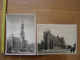 2 Photos BRUXELLES Hotel De Ville Eglise Du Sablon BRUSSELS BELGIQUE RELIGION - Places