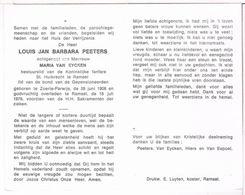 Dp. Peeters Louis. Echtg. Van Eycken Maria. ° Zoerle-Parwijs 1908 † Ramsel 1978 - Religion & Esotericism
