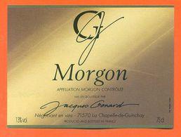 étiquette Vin De Bourgogne Morgon Jacques Gonard à La Chapelle De Guinchay - 75 Cl - Bourgogne