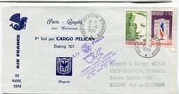 RC 6441 FRANCE 1974 1er VOL AIR FRANCE PARIS BOGOTA COLOMBIE FFC LETTRE COVER - Poste Aérienne