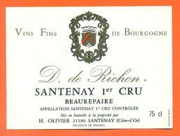 étiquette Vin De Bourgogne Duc De Richon Santenay 1er Cru Beaurepaire H Olivier à Santenay - 75 Cl - Bourgogne