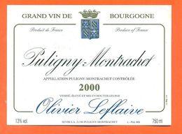étiquette Vin De Bourgogne Puligny Montrachet 2000 Olivier Leflaive à Puligny Montrachet - 75 Cl - Bourgogne
