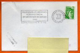 94 VILLENEUVE ST GEORGES    JUMELAGE 1980 Lettre Entière N° J 902 - Annullamenti Meccanici (pubblicitari)