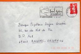35 ST AUBIN D'AUBIGNE  MONT ST MICHEL  1997 Lettre Entière110x220 N° J 930 - Mechanical Postmarks (Advertisement)