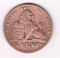 5 CENTIMES  1837   BELGIE /1G/ - 1831-1865: Leopold I