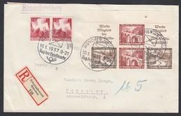 DR Einschreiben Zusammendruck ZD Winterhilfwerk Eckrand Sonderstempel 1937 Telegraphenamt München Nach Hannover K935 - Briefe U. Dokumente