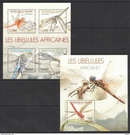S830 2012 BURUNDI FAUNA INSECTS LIBELLULES AFRICAINES KB+BL MNH - Insects