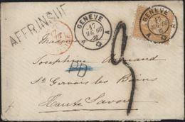 Suisse Helvetia Assise Dentelée YT 37 CAD Genève A Pour St Gervais Les Bains Taxe Tampon 3 Affranchissement Insuffisant - 1862-1881 Helvetia Assise (dentelés)