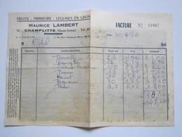 1966 Facture Maurice LAMBERT FRUITS PRIMEURS LEGUMES En GROS CHAMPLITTE (Haute-Saône) - France