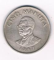 5 MAKUTA   1967 CONGO /12G/ - Congo (Democratic Republic 1964-70)