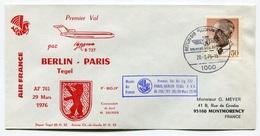 RC 6454 FRANCE 1976 1er VOL AIR FRANCE BERLIN PARIS ALLEMAGNE VOL RETOUR FFC LETTRE COVER - Poste Aérienne