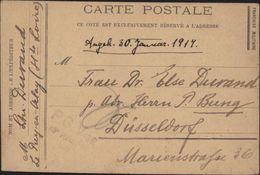 Guerre 14 CP En FM Imprimée Prisonnier Allemand Le Puy En Velay Angele 30 Janvier 1917 Censure Pour Dusseldorf - Postmark Collection (Covers)