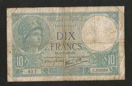 FRANCE - BANQUE De FRANCE - 10 Francs MINERVE (EX 17 - 8 - 1939) - 1871-1952 Antichi Franchi Circolanti Nel XX Secolo