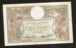 FRANCE - BANQUE De FRANCE - 100 FRANCS  (DF. 6 - 8 - 1936)  LUC OLIVER MERSON - 1871-1952 Antichi Franchi Circolanti Nel XX Secolo