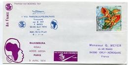 RC 6473 FRANCE 1974 1er VOL AIR FRANCE BUJUMBURA RWANDA - PARIS VOL RETOUR FFC LETTRE COVER - Poste Aérienne